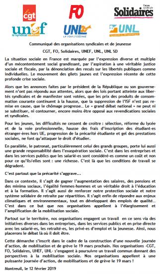 Communique intersyndical mobilisations et greve 19 mars 2019