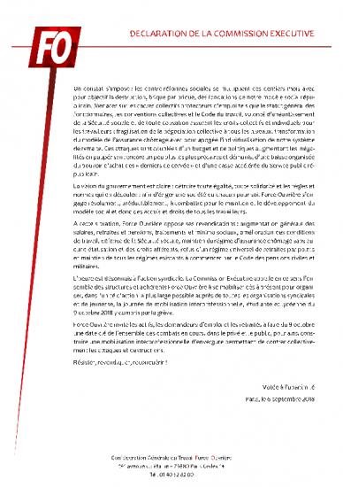 Declaration commission executive du 06092018