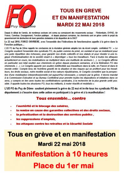 Greve et manifestation du 22 mai 2018