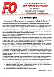 Guerre contre coronavirus ou contre code du travail 27mars2020