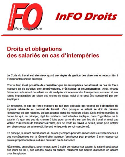 Info droits droits et obligations intemperies