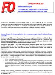 Infojuridique coronavirus ordonnances conges