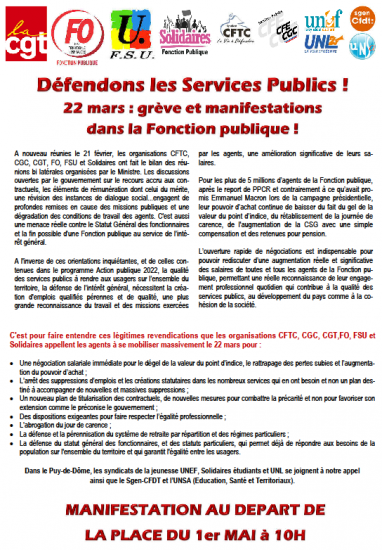 Tract appel intersyndical puy de dome 22 mars 2018